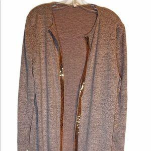 PinkBlush Cardigan Sweater Sequin Trim